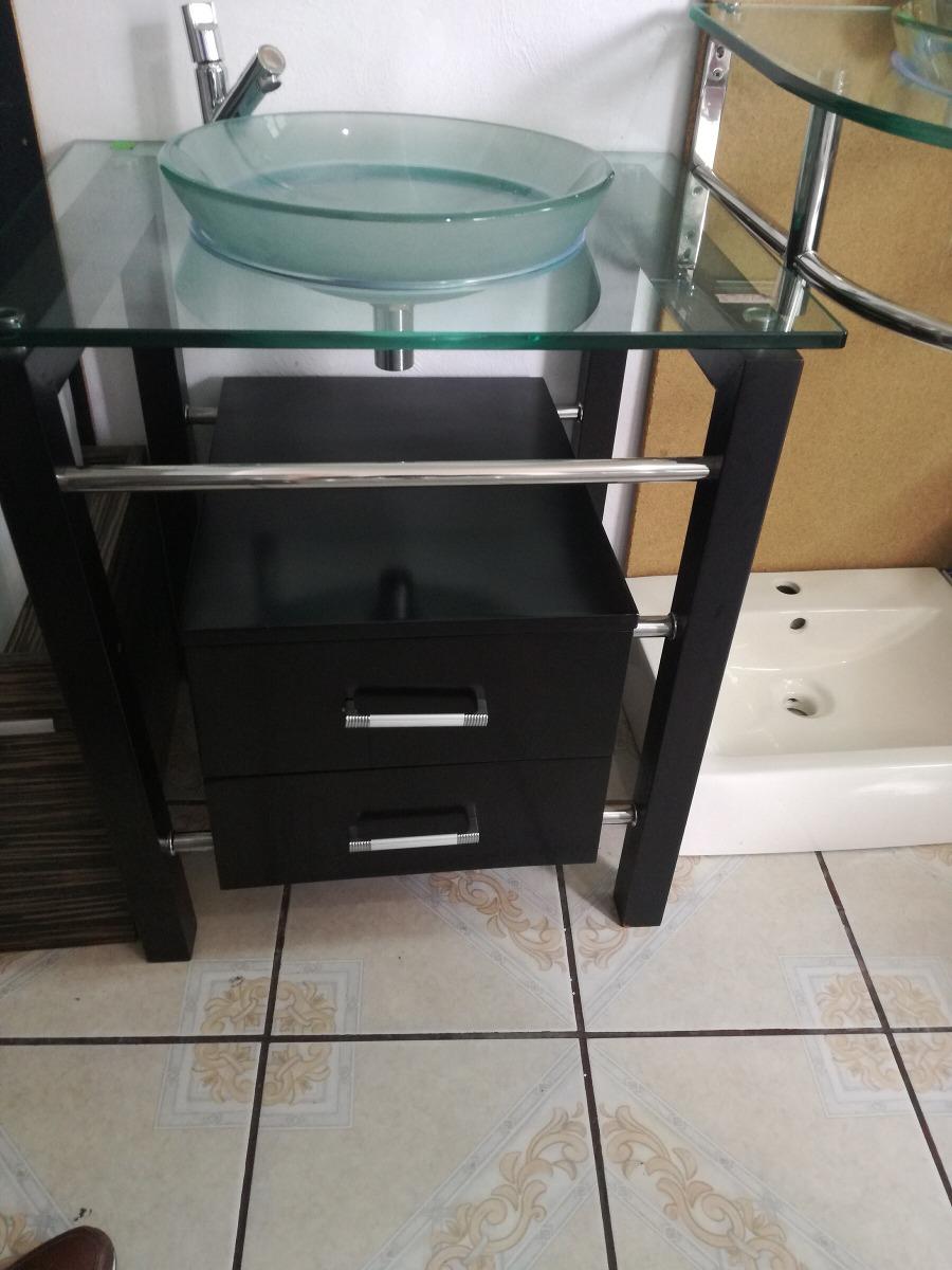 Mueble para ba o con lavabo de cristal y monomando de for Mueble bano con lavabo