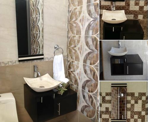 mueble para baño economico lavabo de marmol minimalista gina