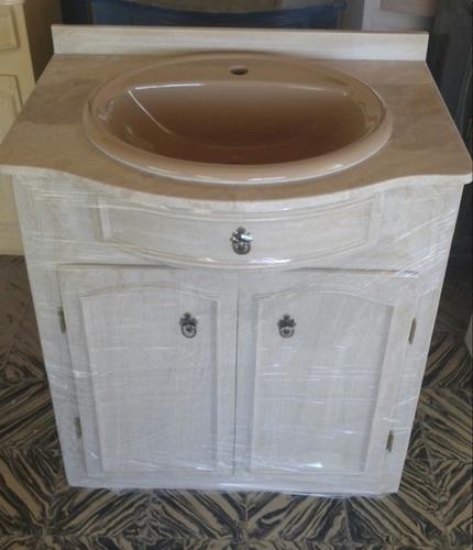 Mueble para ba o en marmol sintetico con mesada y bacha for Revestimiento sintetico para banos