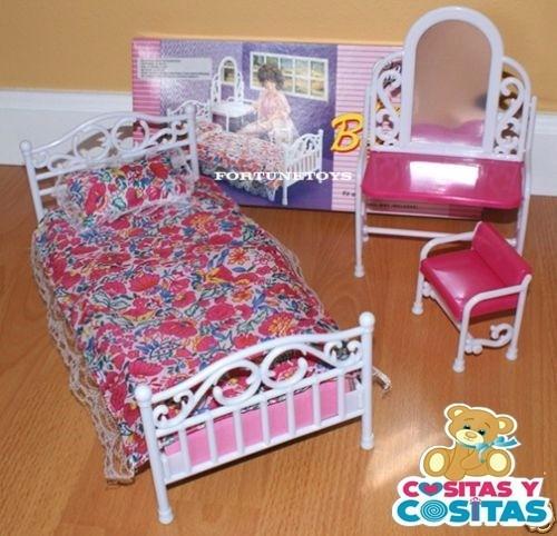 Mueble para casa de mu eca barbie recamara sencilla for Muebles para barbie