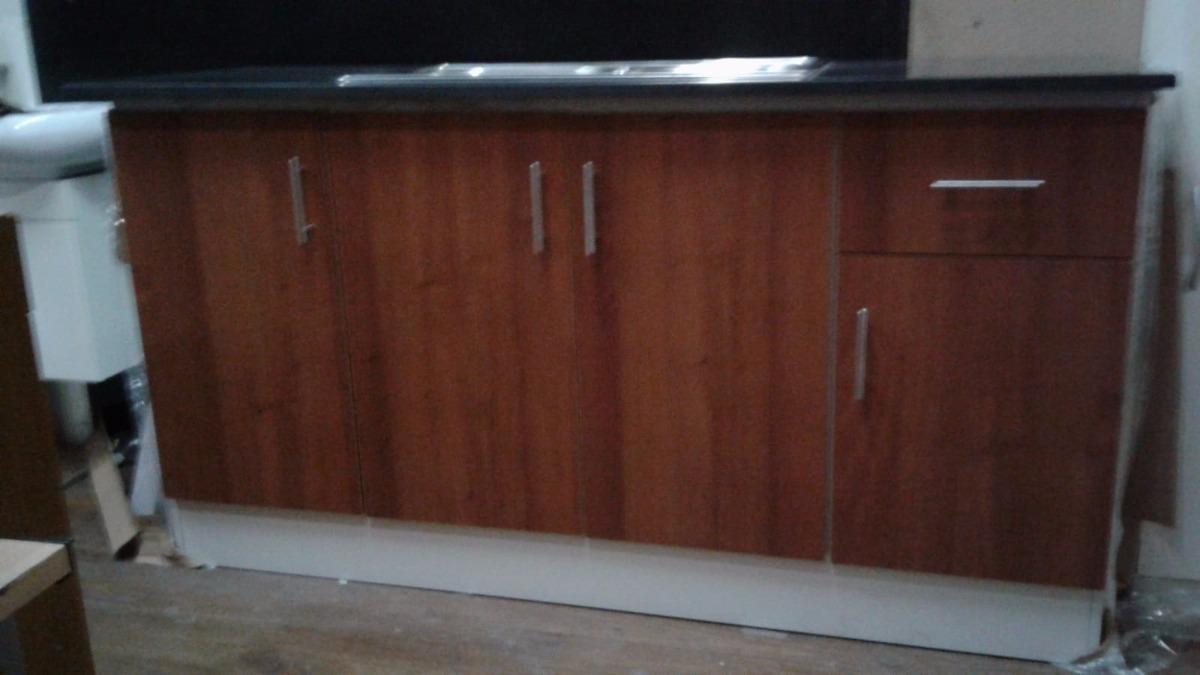 Mueble Para Cocina De 1 60 M Con Mesada De Granito Negro