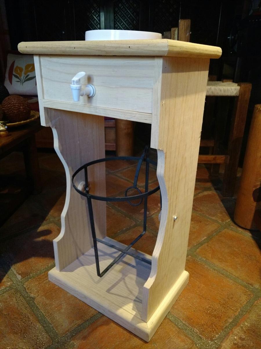Mueble para dos garrafones de agua madera al natural 1 en mercado libre - Muebles de madera natural ...
