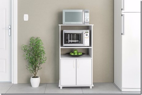 Mueble para horno y microondas blumenau blanco casa for Muebles de cocina para microondas