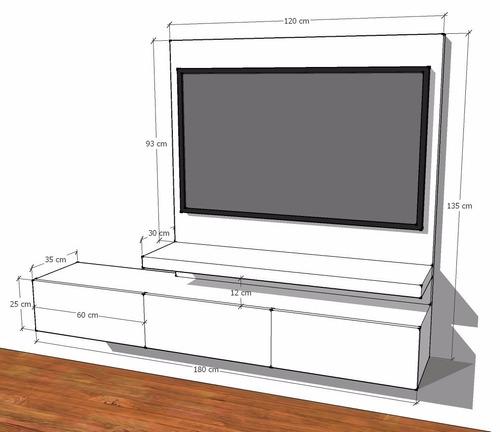 mueble para tv con panel para ocultar cables ref: modulus 14