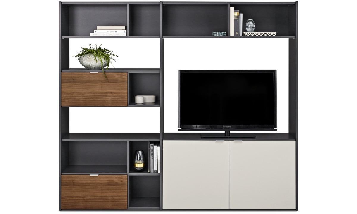 Mueble para tv entretenimiento y librero minimalista for Mueble minimalista