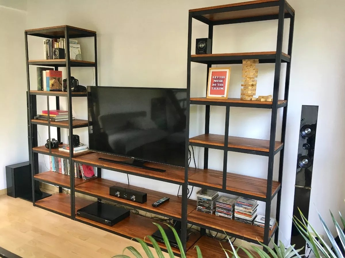 Mueble para tv industrial estanter a metal madera vintage for Muebles bibliotecas para living