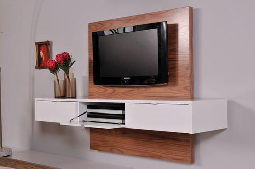 mueble para tv  panel ocultar cables flotantes ref: turpalia