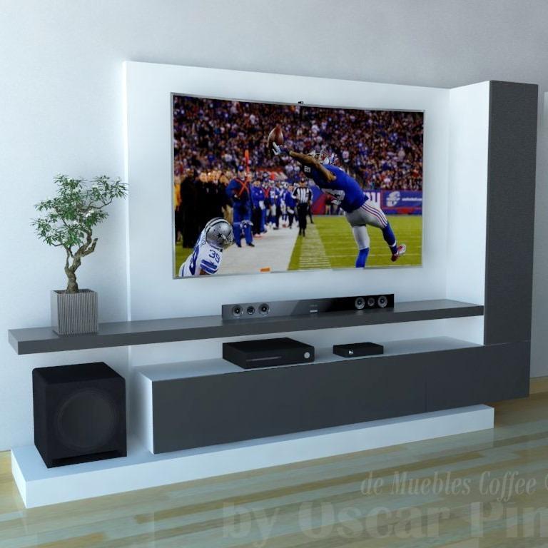 mueble para tv ref mural44 250 cm panel para ocultar cables en mercado libre. Black Bedroom Furniture Sets. Home Design Ideas