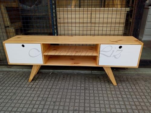 mueble para tv retro vintage 150 cm natural-bco con repisa