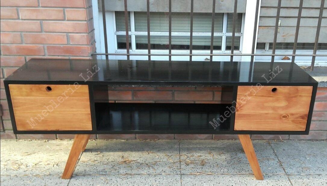Mueble para tv retro vintage 150 cm negro 1 en for Mueble tv vintage