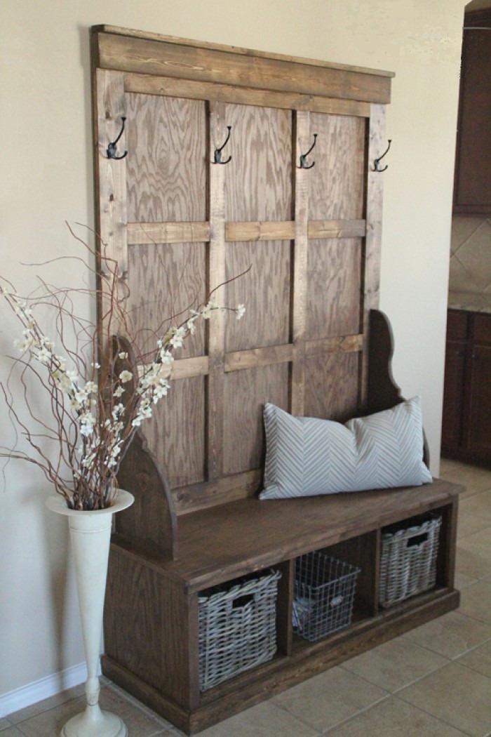 Mueble perchero de madera recibidores en - Mueble perchero recibidor ...