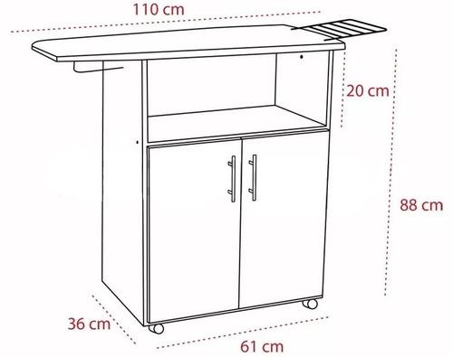 Mueble planchador en melamine con puertas y ruedas s for Planchador de ropa