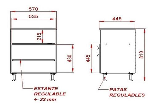 mueble porta microondas 2 puertas melamina express con patas