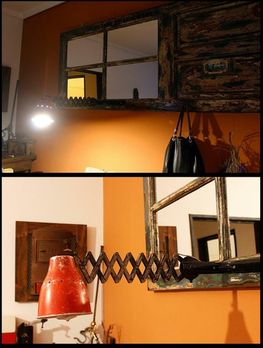 mueble puerta antigua reciclada espejo , pieza de arte.