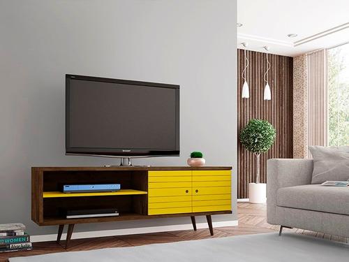 mueble rack onix amarillo tv 32 a 55 - ikean