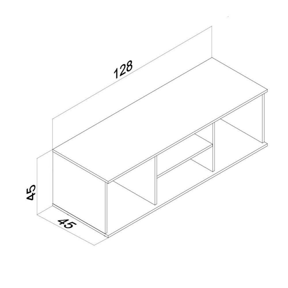 Mueble Rack Tv 4 Nichos Centro Estant 128x45x45cm Blanco  # Muebles Centro Estant