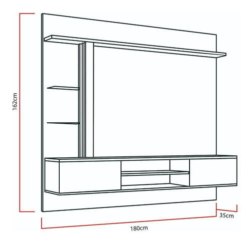 mueble rack tv - home suspenso salinas 60''- canela