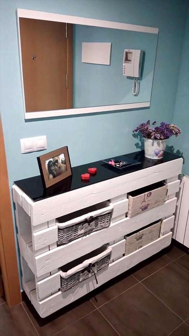 Mueble Recibidor De Pallets Palets 160000 En Mercado Libre - Mueble-con-palets