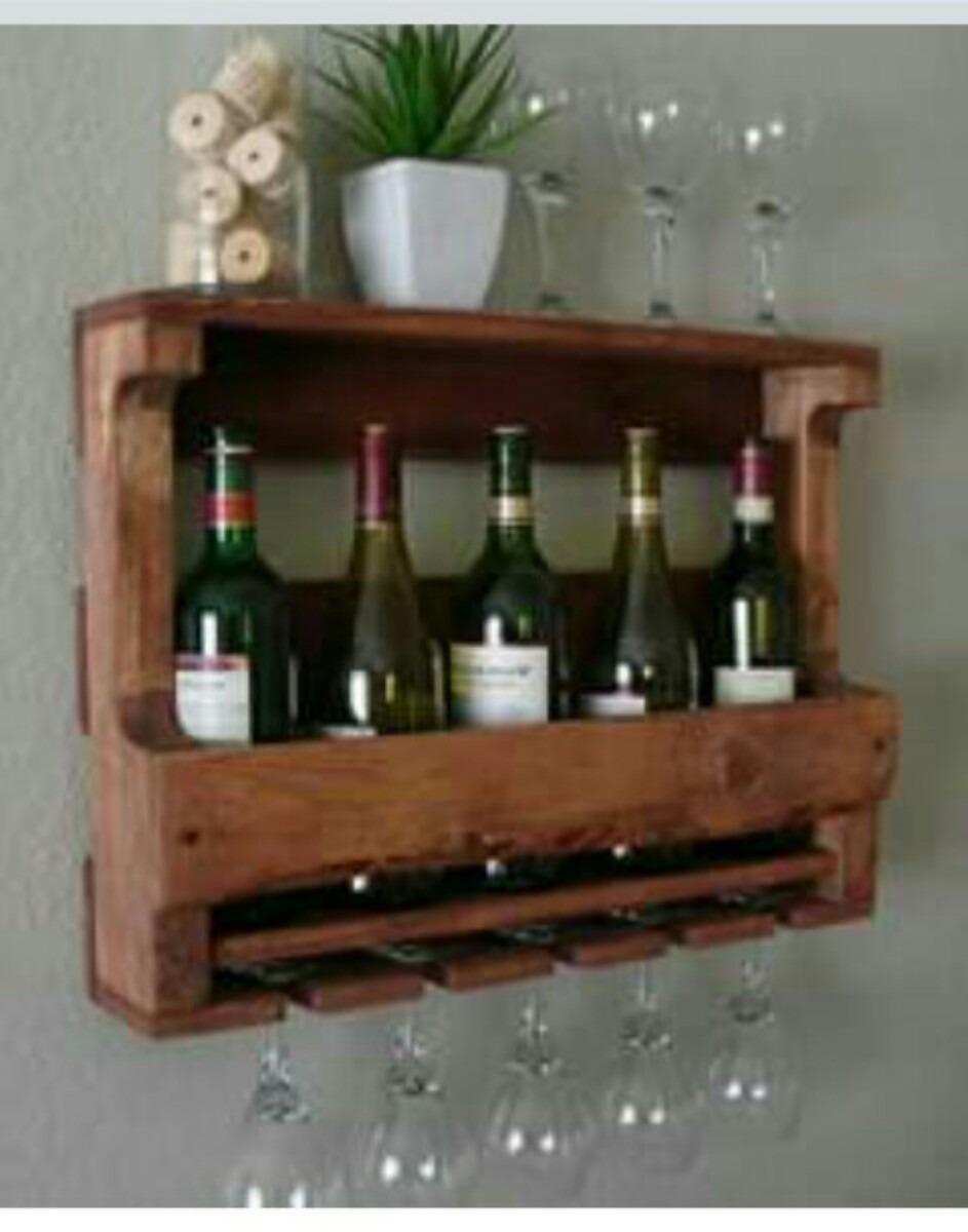 Mueble repisa o estante de vinos y copas en madera - Muebles para vino ...