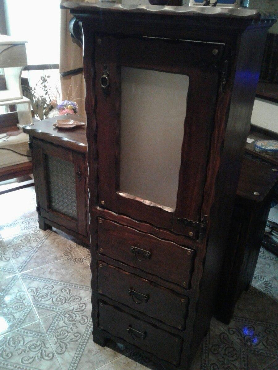Mueble rustico en madera alacena para cocina o comedor for Muebles para cocina comedor