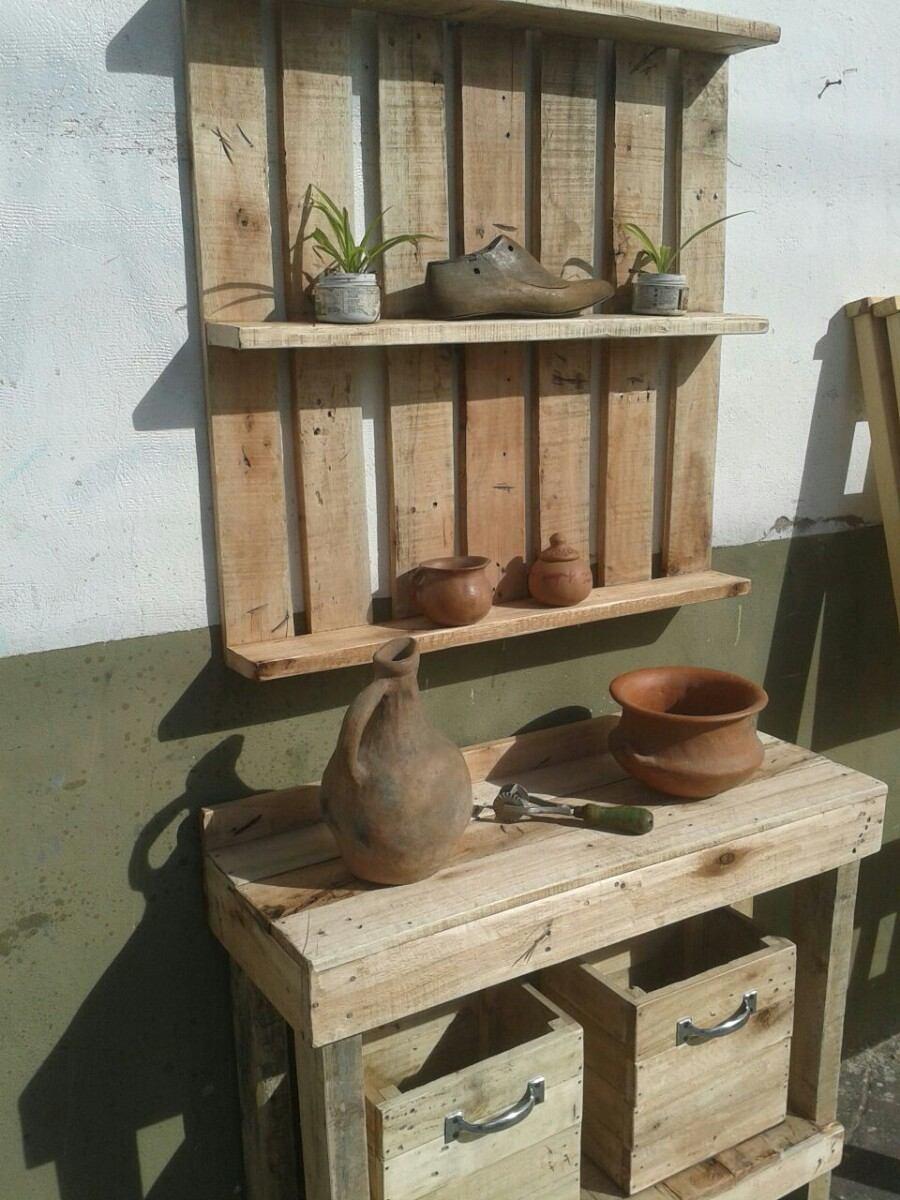 Mueble Rústico Madera Recuperada Reciclada Mesa Arrime - $ 2.500,00 ...