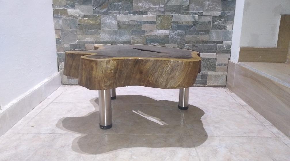 Mueble Rustico Mesa Auxiliar De Madera Rustica