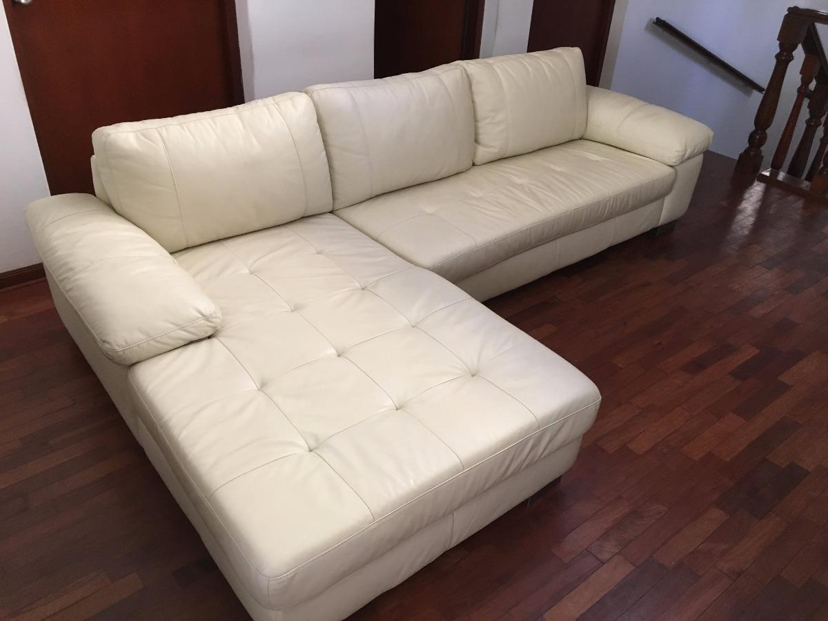 Mueble seccional cuero color beige marca basement perf for Muebles beige