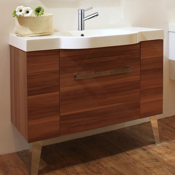 Mueble sevilla 100 cerezo con ovalin y espejo ba o for Mueble bano con lavabo