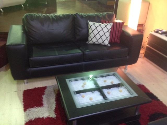 Mueble sofa cama juego de sala en semicuero bs for Mueble divan cama