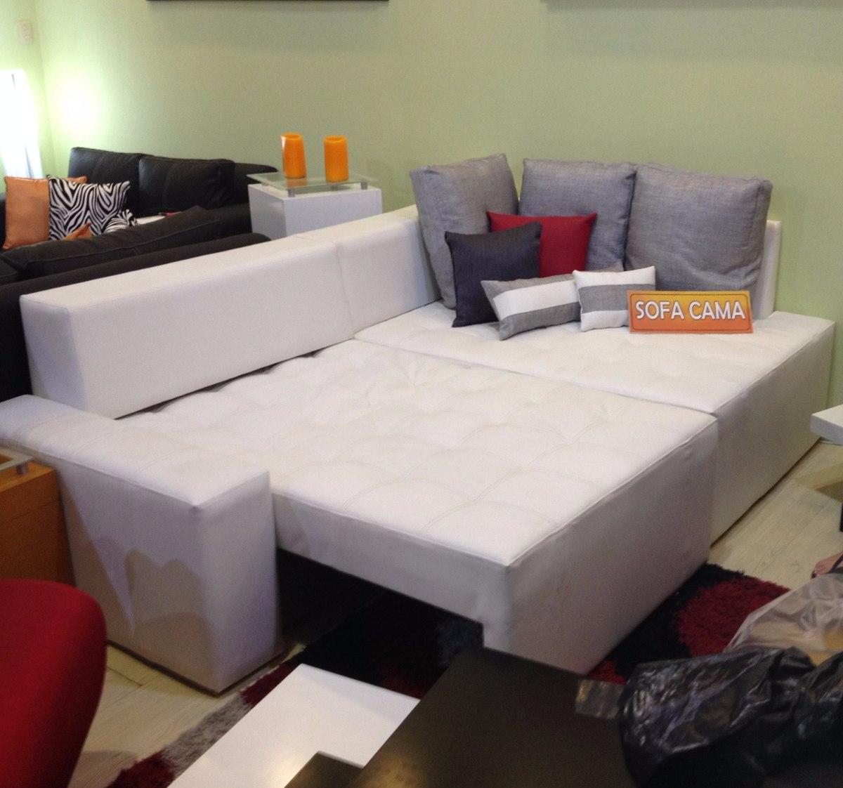 mueble sofa cama modular juego de sala en semicuero paris