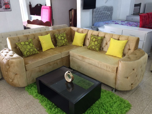 mueble sofa l 360 gran capitoneado terciopelo