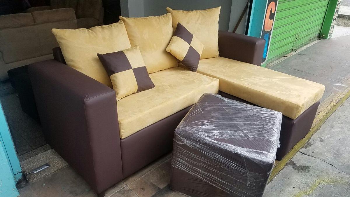 Mueble Sofa Mini L Tapizado Con Ottoman - $ 12,000.00 en Mercado Libre