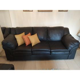 Mueble Sofá Tres Puestos En Bipiel Negro!! Súper Oferta!!!!!