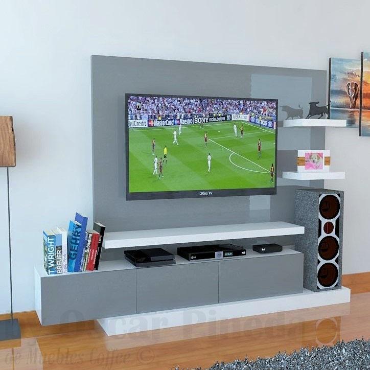 Mueble tv 230 cm ref mural33 con panel para ocultar - Mueble ocultar tv ...