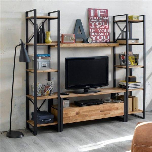 Mueble Tv Diseño Industrial Vajillero Hierro Y Madera - $ 14.700,00 ...