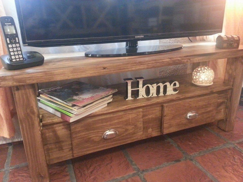 Mueble Tv Lcd Plasma Rack 1,20m Pino Rústica Estilo Campo - $ 3.150 ...
