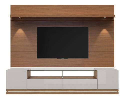mueble tv moderno con panel blanco y madera ref: livo 4.0