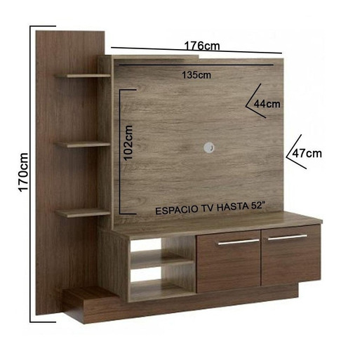 mueble tv rack home theater acacia 13119 / fernapet