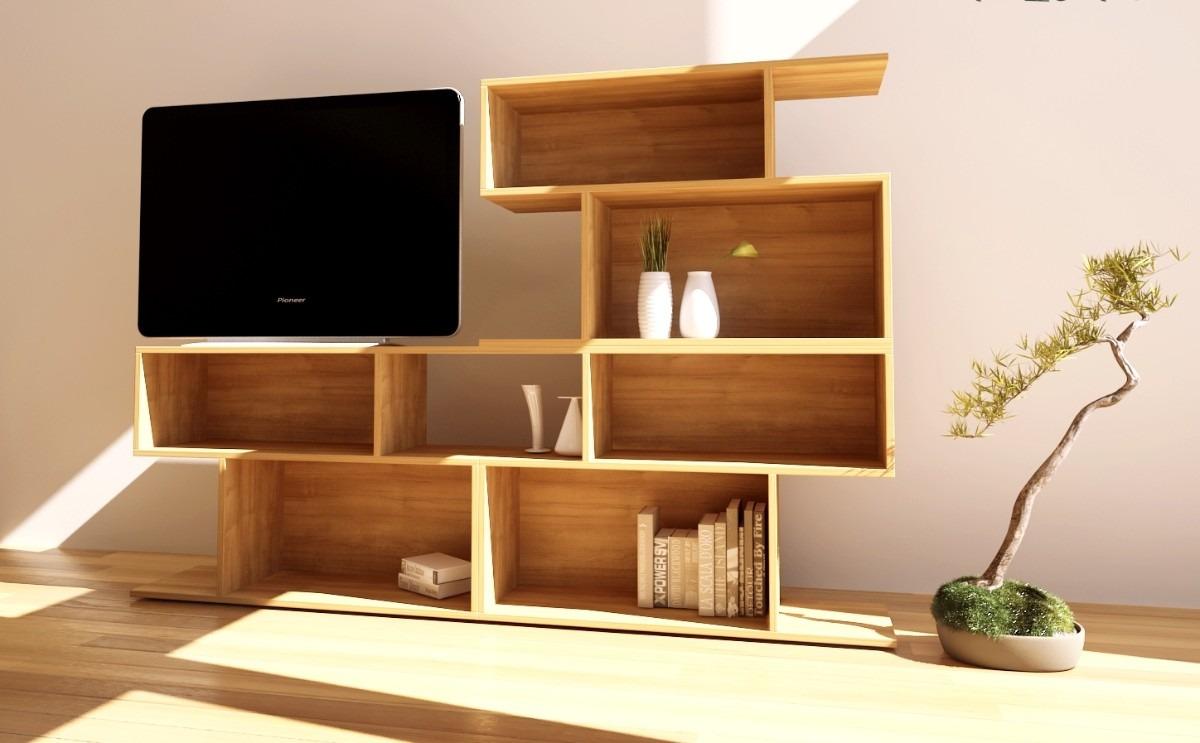 Mueble Tv Rack Lcd Biblioteca Living Zeta Muebles 4 100 00 En  # Muebles Bibliotecas Para Living