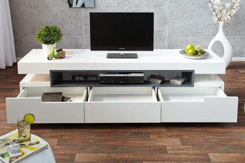 mueble tv ref: livo de 180 cm en madera lacada poliuretano