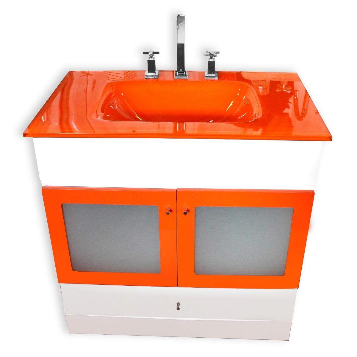 Muebles De Bano Naranja.Mueble Vanitory Mesada De Vidrio Naranja 80x50 Cm Bano 13 380