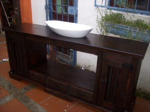 Mueble bajo mesada de ba o rustico madera maciza sin bacha en mercado libre - Muebles bano madera maciza ...