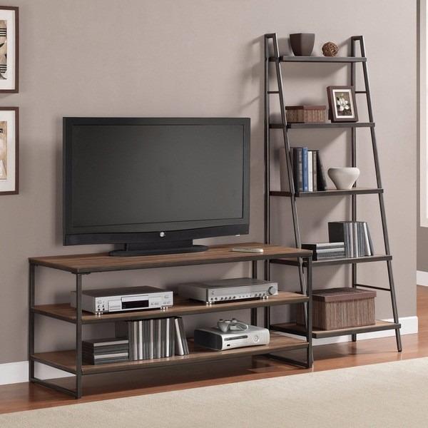 Mueble rack tv industrial rustica hierro y madera 12 pago for Mueble rack