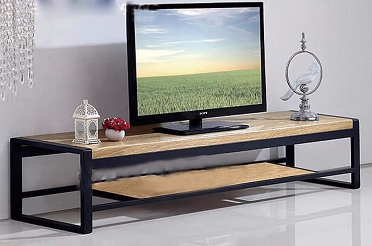 Mueble rack tv industrial rustica hierro y madera 12 pago for Muebles industriales madera y hierro