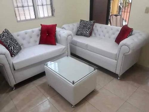 muebles 3 y 2 en blanco tapizado, capitoenado, juego de sala