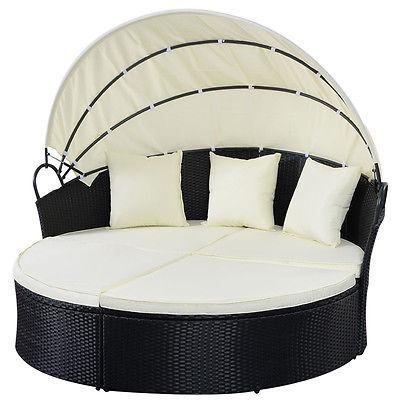 Muebles Al Aire Libre Sofá Rota De Mimbre Negro Capota - $ 2.430.990 ...