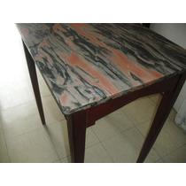 Antigua Mesa De Boliche Con Tapa De Marmol
