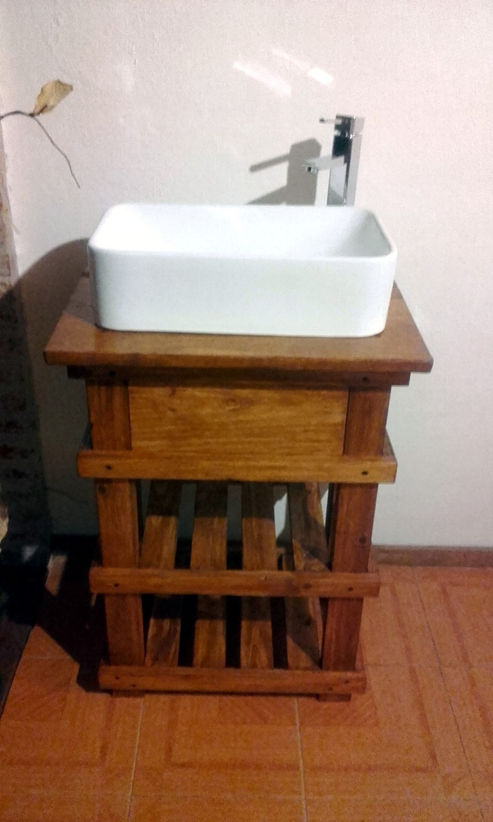 Muebles ba o r stico madera espejo opcional decoformas for Espejos de bano rusticos