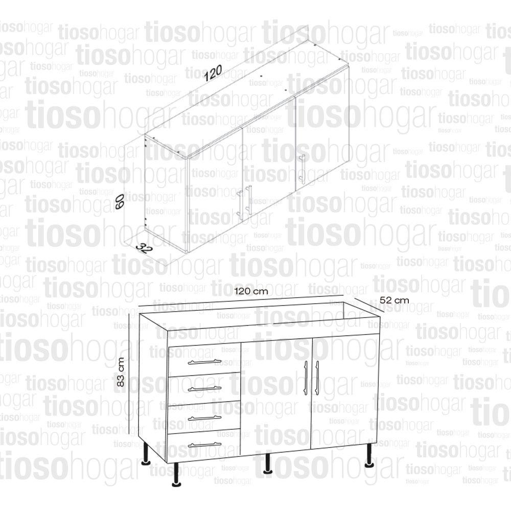 Muebles Centro Estant Cocina Bajo Mesada Bacha Acero Alacena  # Muebles Centro Estant