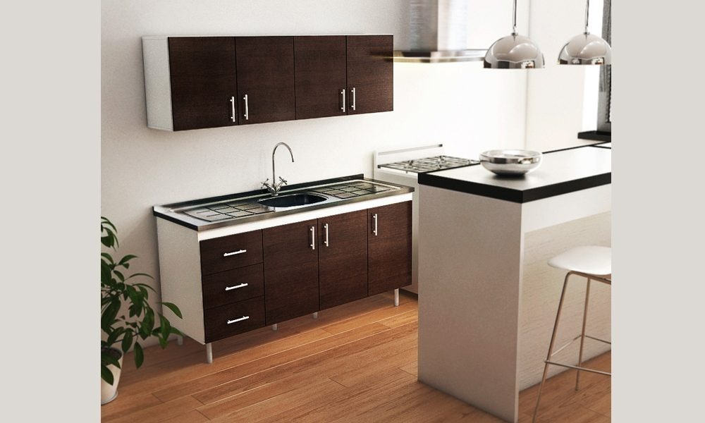 Muebles Cocina Alacena 1,4m Color Blanco O Chocolate Mosconi
